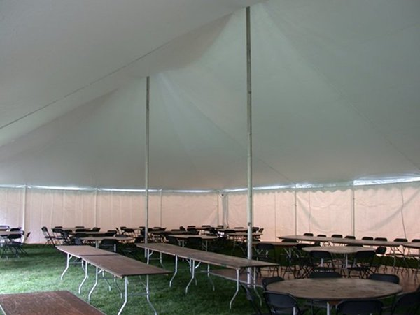 Standard metal center poles (with no covers) shown on a 40u0027 Century Mate Tent. & Center Pole Covers | Baker Tent Rental